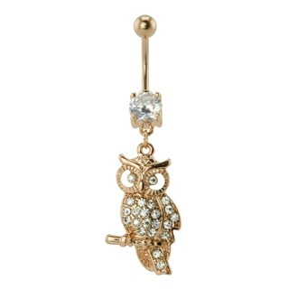 Supreme Jewelry Anodized Rose Gold Owl with Clear Stones Belly Ring