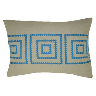 Bindi Blue Feather Filled Embroidered Square Decorative Pillow