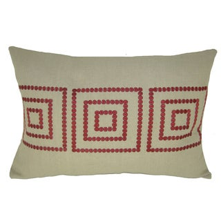 Bindi Red Embroidered Feather Filled Square Decorative Pillow