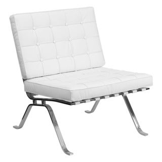Offex Hercules Flash Series White Leather Lounge Chair with Curved Legs