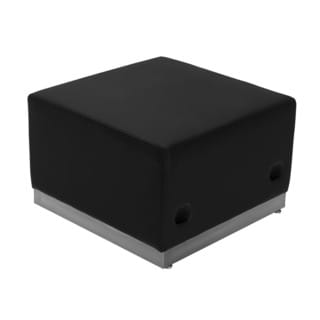 Offex Hercules Alon Series Black Leather Ottoman with Stainless Steel Base