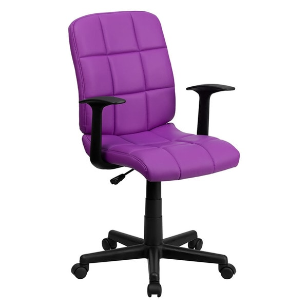 Offex Mid-Back Purple Quilted Vinyl Task Chair with Nylon arms