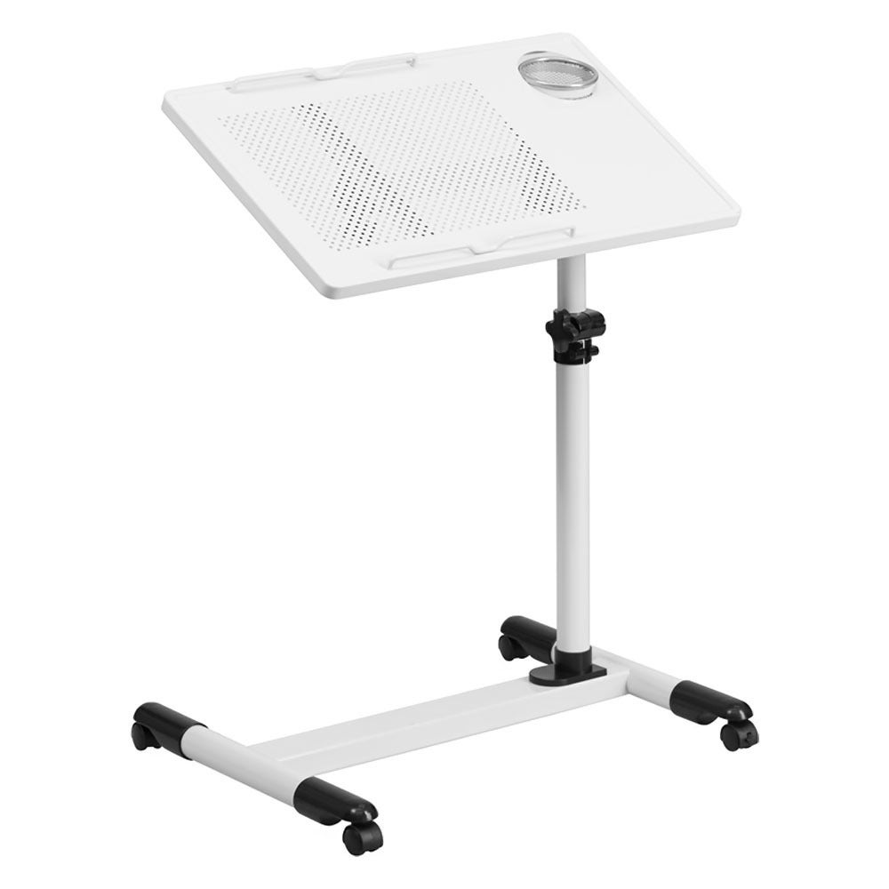 Offex White Adjustable Height Steel Mobile Computer Desk ...