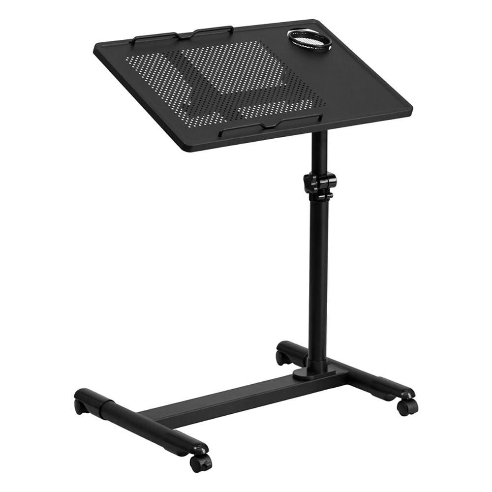 Offex Black Adjustable Height Steel Mobile Computer Desk ...