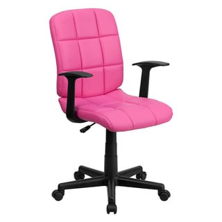Offex Mid-Back Pink Quilted Vinyl Task Chair with Nylon arms