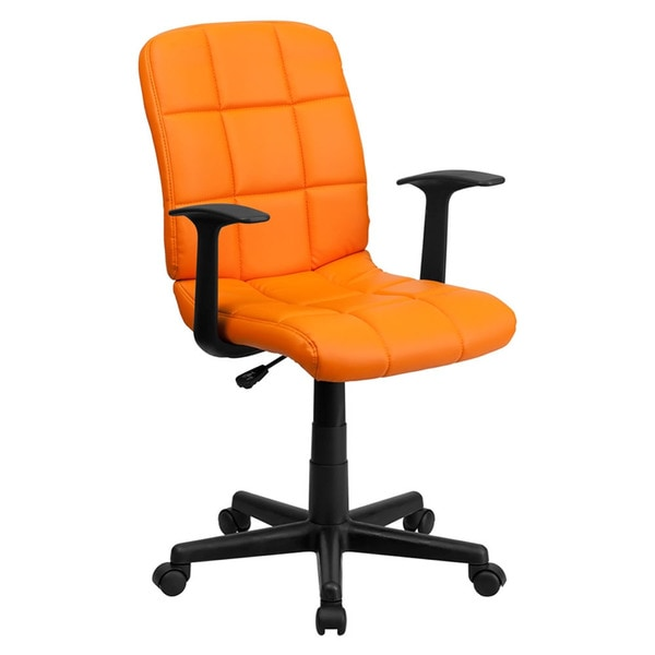 Offex Mid-Back Orange Quilted Vinyl Task Chair with Nylon arms