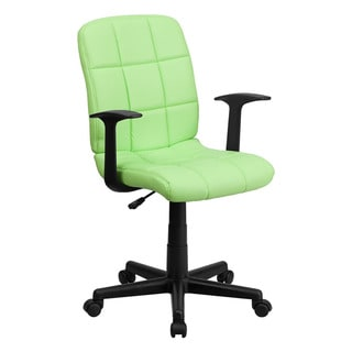 Offex Mid-Back Green Quilted Vinyl Task Chair with Nylon arms