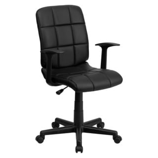 Offex Mid-Back Black Quilted Vinyl Task Chair with Nylon arms