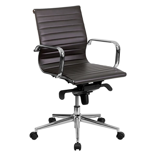 Offex Mid-Back Brown Ribbed Upholstered Leather Conference Chair