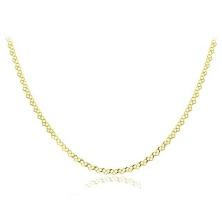 Mondevio 14k Gold 2mm Heart Link Chain Necklace