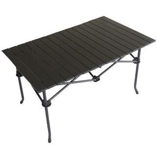 Large Aluminum Roll Slat Graphite Grey Rectangular Table