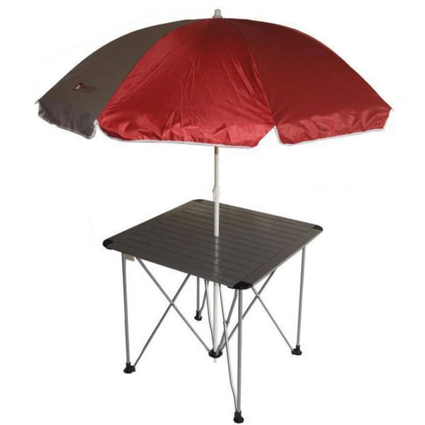 Aluminum Roll Slat Graphite Grey Table with Umbrella
