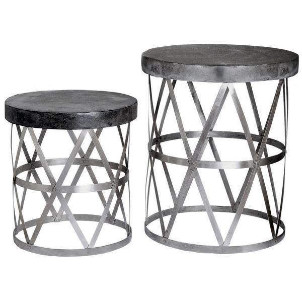 Alor Metal and Faux Cement 2-piece Accent Table Set