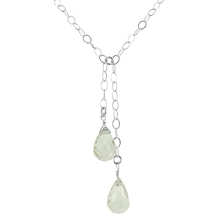 Ashanti Sterling Silver Mint Green Quartz Gemstone Handmade Necklace (Sri Lanka)