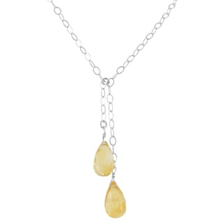 Ashanti Sterling Silver Golden Citrine Gemstone Handmade Necklace (Sri Lanka)