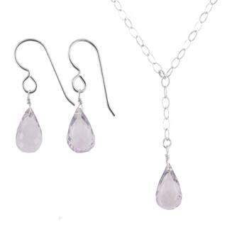Ashanti Sterling Silver Pink Amethyst Gemstone Handmade Earrings and Necklace Set (Sri Lanka)|https://ak1.ostkcdn.com/images/products/9609847/P16795393.jpg?impolicy=medium