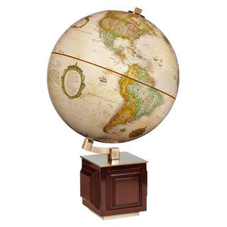 Four Square Wooden Desktop World Map Ball