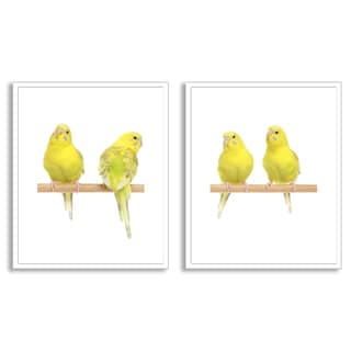 Gallery Direct Jagodka's 'Yellow Budgie Birds' Diptych Art