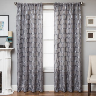 Softline Brach Geometric Applique Sheer Curtain Panel (More options available)