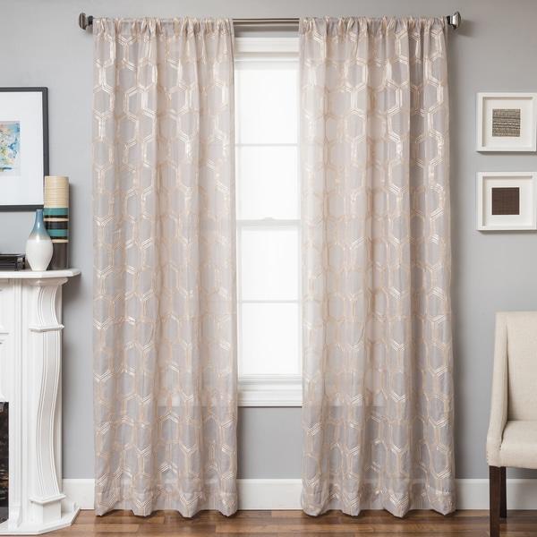 Shop Softline Brach Geometric Applique Sheer Curtain Panel