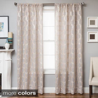 Softline Brach Geometric Applique Sheer Curtain Panel