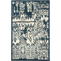 Hand-tufted Abstract Art Cream/ Turquoise Wool Rug (5' x 8')