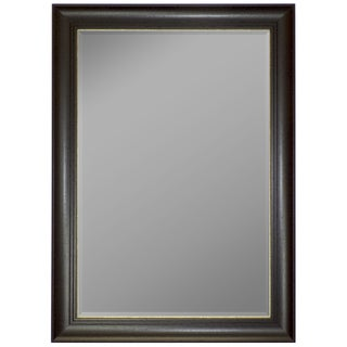 Austrian Stepped Mahogany Silver Trim Framed Wall Mirror