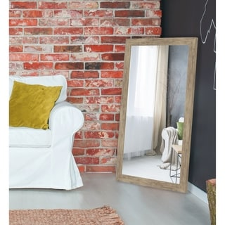 Weathered Sand Barn Siding Petite Framed Wall Mirror