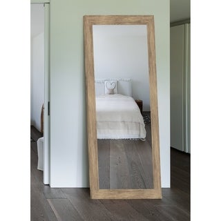 Weathered Sand Barn Siding Grande Framed Wall Mirror