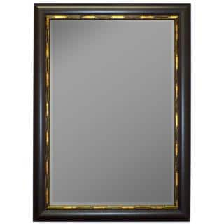 Panda Mahogany Gold Bamboo Trim Framed Wall Mirror