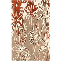 Hand-tufted Abstract Art Cream/ Dark Orange Abstract Wool Rug (5' x 8')