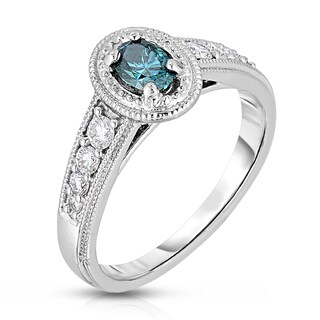 14k White Gold 3/4ct TDW Blue Oval Cut Diamond Ring With Milgrain Detail (Blue, I1-I2)