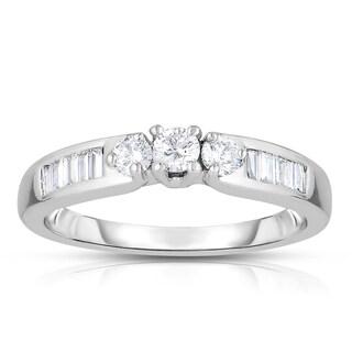14k White Gold 1/2ct TDW 3-Stone Round Diamond Engagement Ring (H-I, I2-I3)