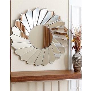 Abbyson Deanna Round Floral Wall Mirror