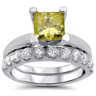 Noori 14k White Gold 1 4/5ct TDW Canary Yellow Princess-cut Diamond Bridal Set (F-G, SI1-SI2)