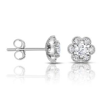 14k White Gold 2/5ct TDW Flower Diamond Stud Earrings (H-I, I1-I2)
