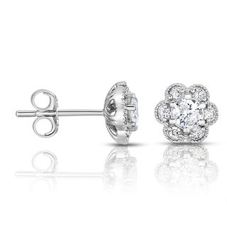 14k White Gold 2/5ct TDW Flower Diamond Stud Earrings