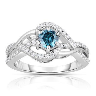 14k White Gold 3/4 ct TDW Blue Diamond Engagement Ring (Blue, I1-I2)