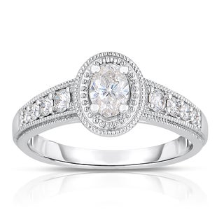 14k White Gold 3/4ct TDW Oval Cut Diamond Ring with Milgrain Detail (H-I, I1-I2)