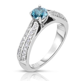 14k White Gold 3/4ct TDW Blue Solitaire Diamond Ring (Blue, I1-I2)