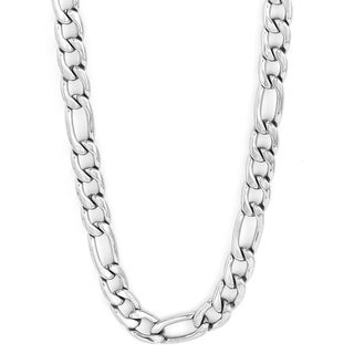 Link to 30-inch Stainless Steel Figaro Chain Necklace Similar Items in Men's Jewelry