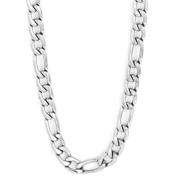 Shop 30-inch Stainless Steel Figaro Chain Necklace - Free Shipping ... 48f0d5a6a302