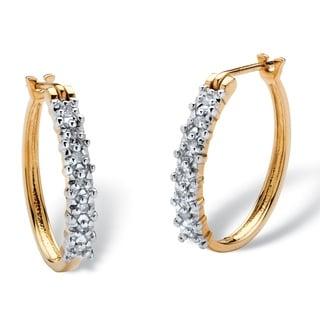 1/10 TCW Round Diamond Hoop Earrings in 10k Gold