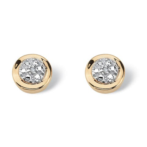 Round Diamond Accented Cluster Earrings in 10k Gold