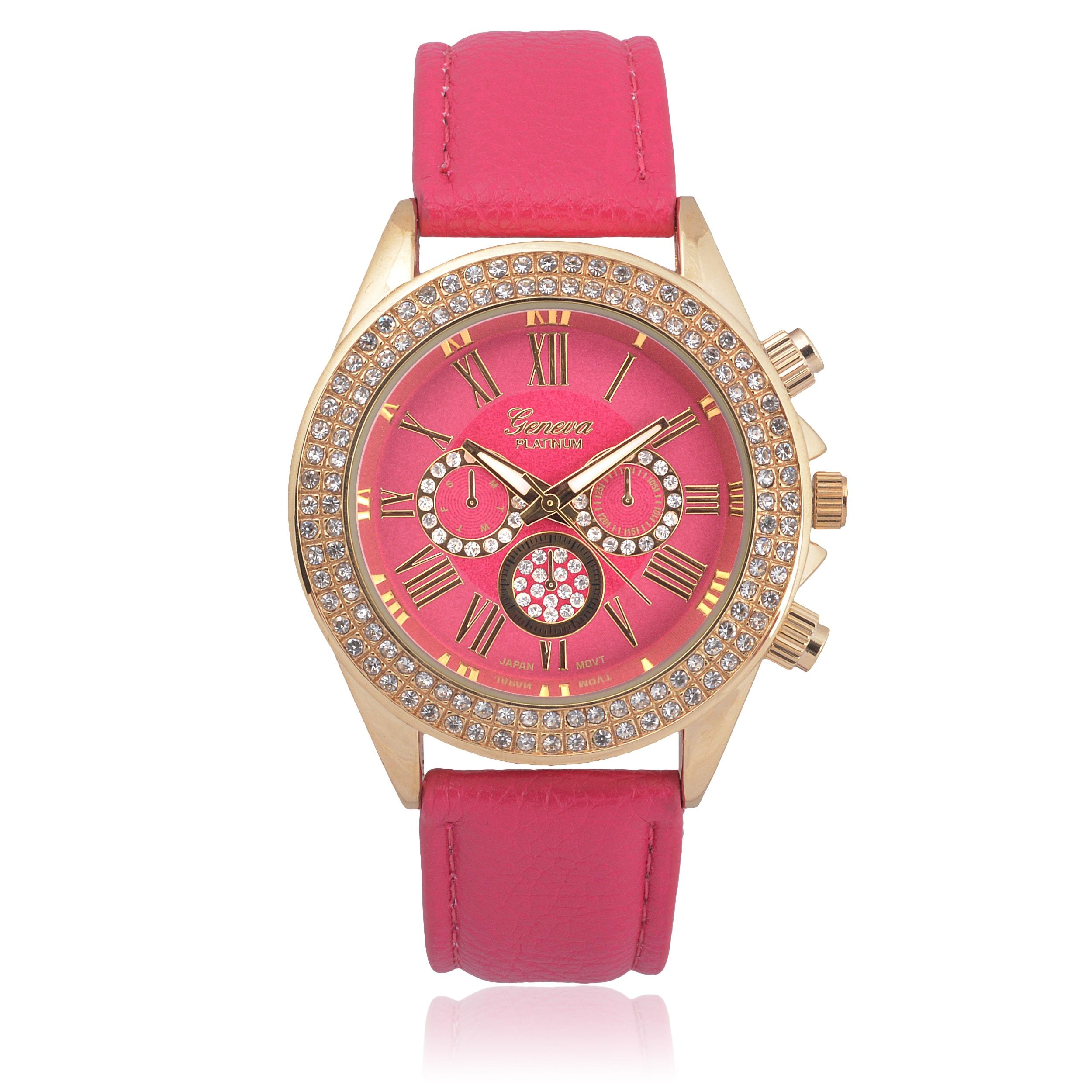 Geneva Faux Leather Rhinestone Watch (Hot Pink), Women's,...