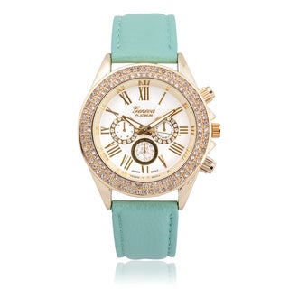 Geneva Platinum Faux Leather Rhinestone Watch