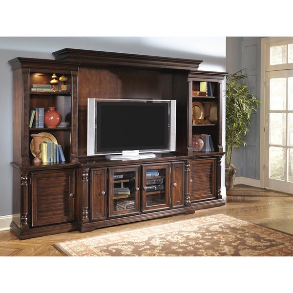 Signature design by ashley 39 key town 39 dark brown Home entertainment center