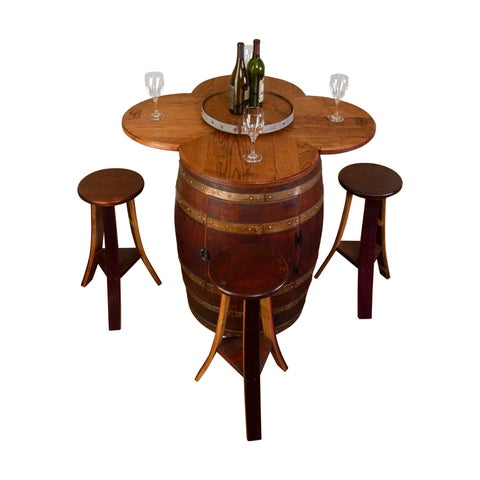 Wine Barrel Table Set with Cabinet Base