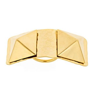 Bita Pourtavoosi Gold Plated Double Pyramid Ring