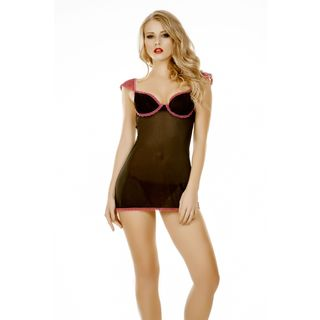 Popsi Lingerie Black Mesh Babydoll with Matching Panty